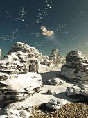 picture of starship  - Science fiction illustration of a spaceship flying over a snowy winter landscape on a deserted planet in bright sunshine - JPG