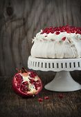 picture of pomegranate  - Pavlova Cake With Pomegranate - JPG