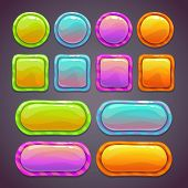 stock photo of fluorescent  - Set of bright funny buttons with different shapes and colors - JPG