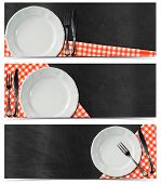 image of blank check  - Collection of three kitchen banners with empty white plate silver cutlery red and white checked tablecloth on empty blackboard - JPG
