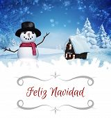 pic of snow border  - border against christmas house with snow man - JPG