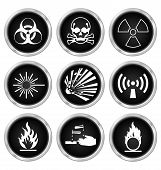 image of hazardous  - Black hazard related icon set isolated on white background - JPG