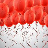 picture of confetti  - Celebration background with red balloons and confetti - JPG