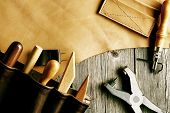 pic of leather tool  - Leather crafting tools still life - JPG