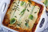 stock photo of zucchini  - Healthy zucchini lasagna bolognese in a baking dish - JPG