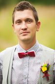stock photo of boutonniere  - Portrait of handsome young man smartly dressed - JPG