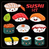 image of sushi  - Sushi vector set - JPG