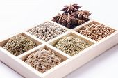 foto of oblique  - oblique six-blocks wooden frame collection of spices