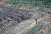 image of iron ore  - View to the iron ore opencast mining site - JPG