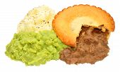 image of mashed potatoes  - Meat pie and mashed potato meal with mushy peas isolated on a white background - JPG