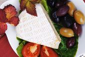 pic of brie cheese  - aged brie cheese on salad in white dish over red cloth on with olives and tomato over wooden table - JPG