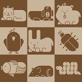 stock photo of zoo  - Zoo animals icons set  - JPG