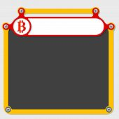 foto of bit coin  - Red frame for headline and bit coin icon - JPG