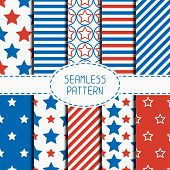 picture of usa flag  - Set of geometric patriotic seamless pattern with red - JPG