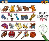 picture of brain teaser  - Cartoon Illustration of Finding Improper Item Educational Game for Preschool Children - JPG