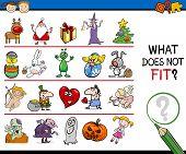 pic of brain teaser  - Cartoon Illustration of Finding Improper Item Educational Game for Preschool Children - JPG