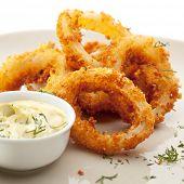 image of deep  - Deep Fried Calamari Rings with Sauce Bowl - JPG