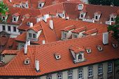 foto of red roof tile  - Red tile roofs in Central European city - JPG