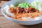 image of thai food  - Thai rice vermicelli served with curry it is local Thai food - JPG