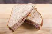 image of bacon  - A typical English breakfast bacon butty made with bacon rashers  - JPG