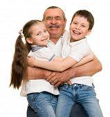 foto of grandfather  - Grandfather and grandchildren portrait - JPG