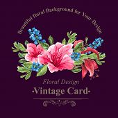 stock photo of jungle flowers  - Invitation Vintage Card with Blueberries - JPG