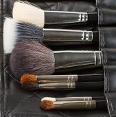 picture of black-belt  - Makeup brushes in a makeup artist belt - JPG