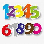 image of number 7  - Set of colorful ribbon font - JPG