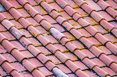 picture of roof tile  - background of an old roof with tiles - JPG