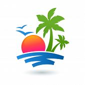 stock photo of palm  - Summer beach illustration abstract sun and palm tree on seaside - JPG