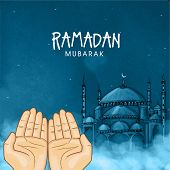 stock photo of ramadan mubarak  - Illustration of hands praying namaz  - JPG