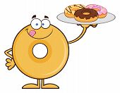 stock photo of donut  - Donut Cartoon Character Serving Donuts - JPG