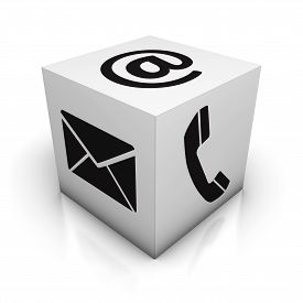 stock photo of blog icon  - Website contact us Internet concept with email phone and at black icon and symbol on white cube with reflection effect for web blog and online business isolated on white background - JPG