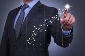 pic of touching  - Businessman Touch Graph on Visual Screen  graph chart solution finance big data analyzing - JPG