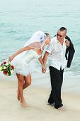 image of wedding couple  - Wedding on the tropical beach - JPG