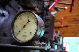 picture of manometer  - The vintage manometer in driver cabin of the old soviet locomotive - JPG