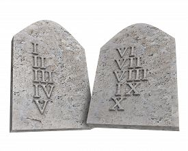 picture of tens  - the ten Commandments isolated on a white background - JPG