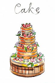 foto of torte  - Watercolor hand drawn torte  - JPG