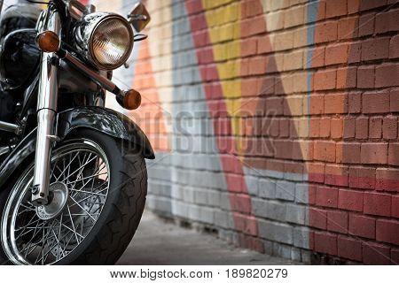 Closeup of motorcycles