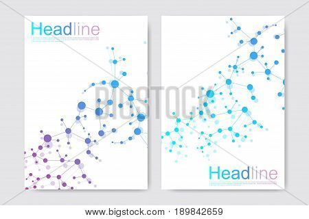 poster of Scientific brochure design template. Vector flyer layout, Molecular structure with connected lines and dots. Scientific pattern atom DNA with elements for magazine, leaflet, cover, poster design