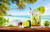 Fresh mojito drink placed on wooden planks, blur tropical beach on background. Summer drinks and bea poster