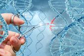 Hand Inserts A Molecule Into Dna. poster
