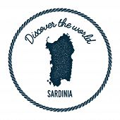 Sardinia Map In Vintage Discover The World Insignia. Hipster Style Nautical Postage Stamp, With Roun poster