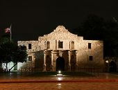pic of revolutionary war  - the Alamo lit up at night in San Antonio Texas - JPG