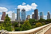 a crisp cityscape of the downtown Houston Texas skyline on a nice summer day