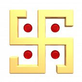 picture of swastika  - Gold swastika symbol isolated on the white - JPG