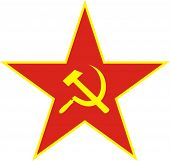 stock photo of hammer sickle  - Communist red star with hammer and sickle on white background - JPG
