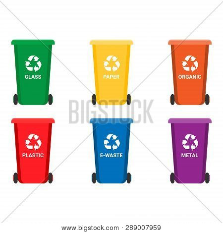 Colorful Recycle Trash Bins Isolated
