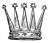 Celestial Crown from any other crown by the stars on the points, vintage line drawing or engraving i poster