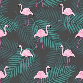 Tropical Trendy Seamless Pattern With Pink Flamingo, Tropical Leafs. Beach Background. Tropical Para poster